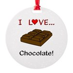 I Love Chocolate Round Ornament