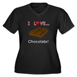 I Love Chocolate Women's Plus Size V-Neck Dark T-S