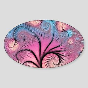 Funky Fractal Art Sticker (Oval)