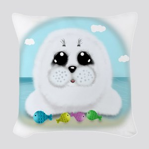 baby-Seal-(txt) Woven Throw Pillow