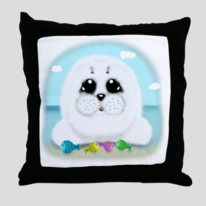 baby-Seal-(txt) Throw Pillow