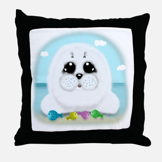 baby-Seal-(txt) Throw Pillow