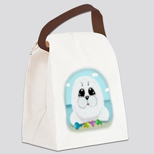 baby-Seal-(txt) Canvas Lunch Bag