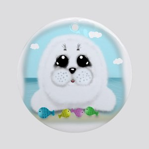 baby-Seal-(txt) Round Ornament