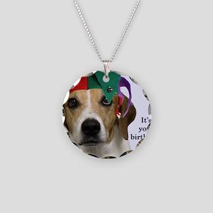 Beagle Birthday Card Necklace Circle Charm