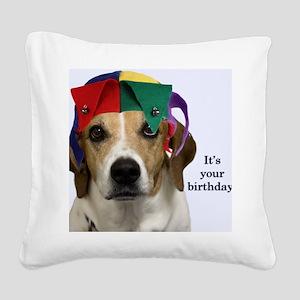 Beagle Birthday Card Square Canvas Pillow