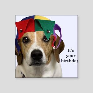 "Beagle Birthday Card Square Sticker 3"" x 3"""