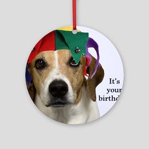Beagle Birthday Card Round Ornament