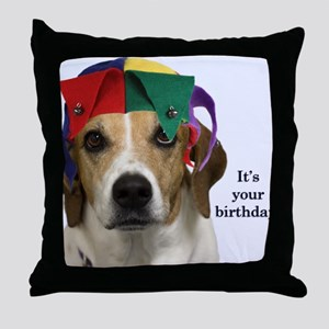 Beagle Birthday Card Throw Pillow