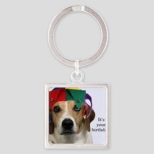 Beagle Birthday Card Square Keychain
