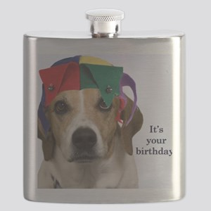 Beagle Birthday Card Flask