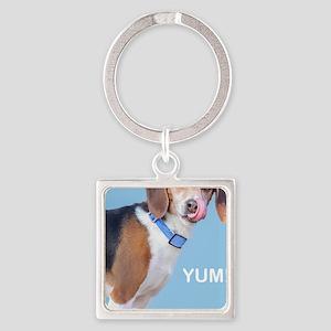 Beagle Yum Birthday Square Keychain