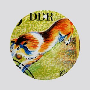 Vintage 1976 East Germany Collie Do Round Ornament