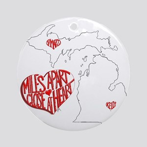 Michigan Hearts - Kelly  JaMarco Round Ornament