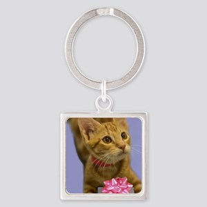 Tabby Kitten with Gift Birthday Square Keychain