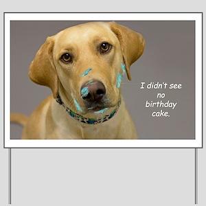 Yellow Lab Cake Face Birthday Yard Sign