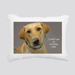 Yellow Lab Cake Face Bir Rectangular Canvas Pillow