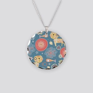 Cute Cats and Fish Necklace Circle Charm