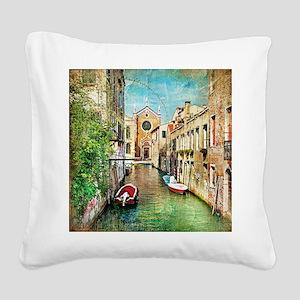 Vintage Venice Photo Square Canvas Pillow