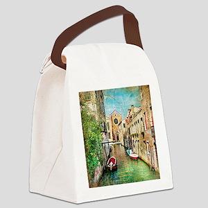 Vintage Venice Photo Canvas Lunch Bag