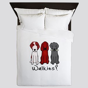 Walkies? (Three dogs) Queen Duvet