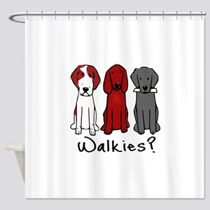Walkies? (Three dogs) Shower Curtain