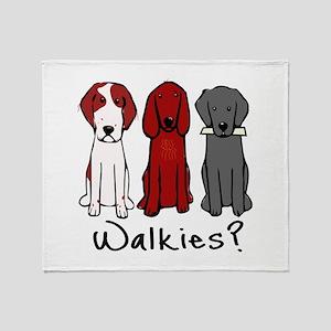 Walkies? (Three dogs) Throw Blanket