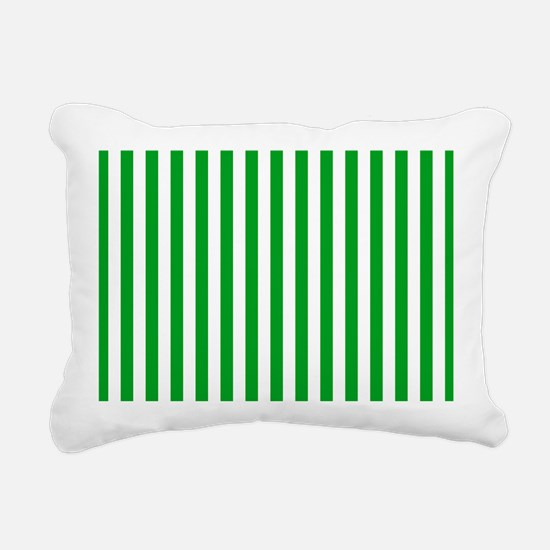 Green and White Stripes Rectangular Canvas Pillow