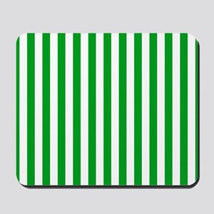 Green and White Stripes Mousepad