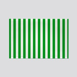 Green and White Stripes Rectangle Magnet