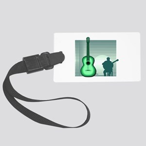 acoustic guitar player sitting green Luggage Tag