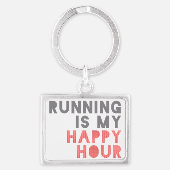 Running Is My Happy Hour Landscape Keychain