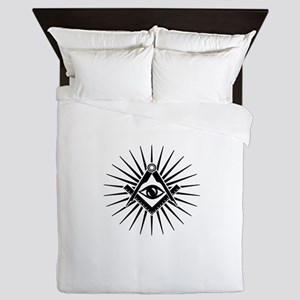 Masonic symbol, all seeing eye, freema Queen Duvet