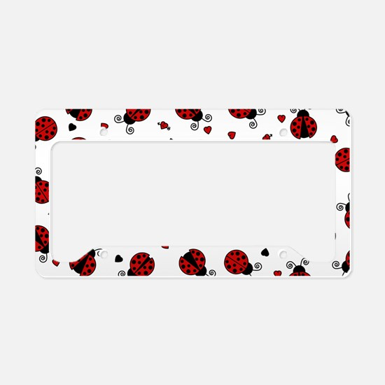 Cute Red Ladybug and Hearts Print License Plate Ho