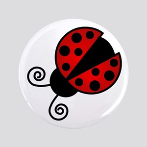 """Red Ladybug 1 3.5"""" Button"""