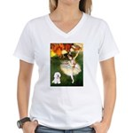 Ballet Dancer & Bichon Women's V-Neck T-Shirt