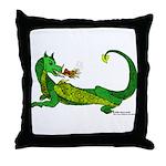 Flamin' Green Dragon Throw Pillow