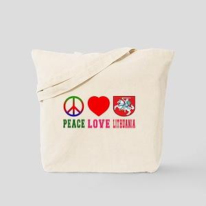 Peace Love Lithuania Tote Bag