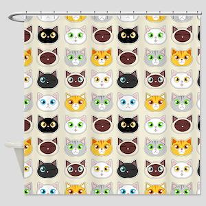 Cattitude - Cute Cat Expressions Pattern Shower Cu