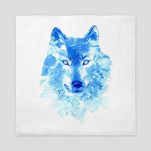 Watercolor Winter Wolf Queen Duvet