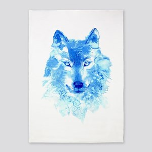 Watercolor Winter Wolf 5'x7'Area Rug