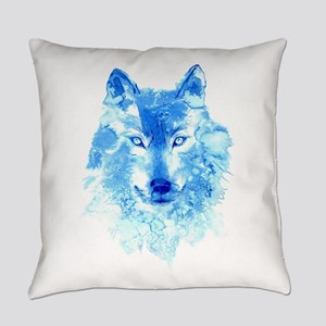 Watercolor Winter Wolf Everyday Pillow