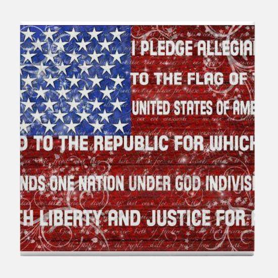 Flag and Pledge Tile Coaster