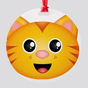 Kitty Face Round Ornament