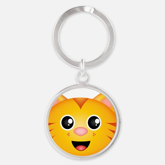 Kitty Face Round Keychain