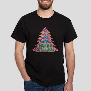 Funny Psychadelic Hippie Mustache Chr Dark T-Shirt