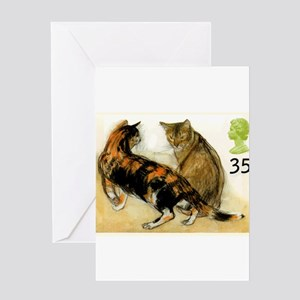 Vintage 1995 Great Britain Cats Postage Stamp Gree