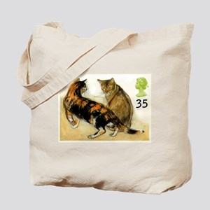 Vintage 1995 Great Britain Cats Postage Stamp Tote