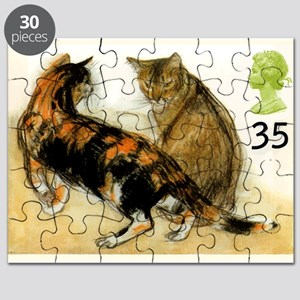 Vintage 1995 Great Britain Cats Postage Stamp Puzz