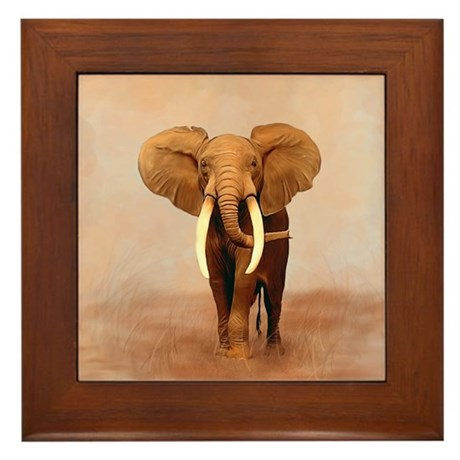 Painted Elephant Framed Tile